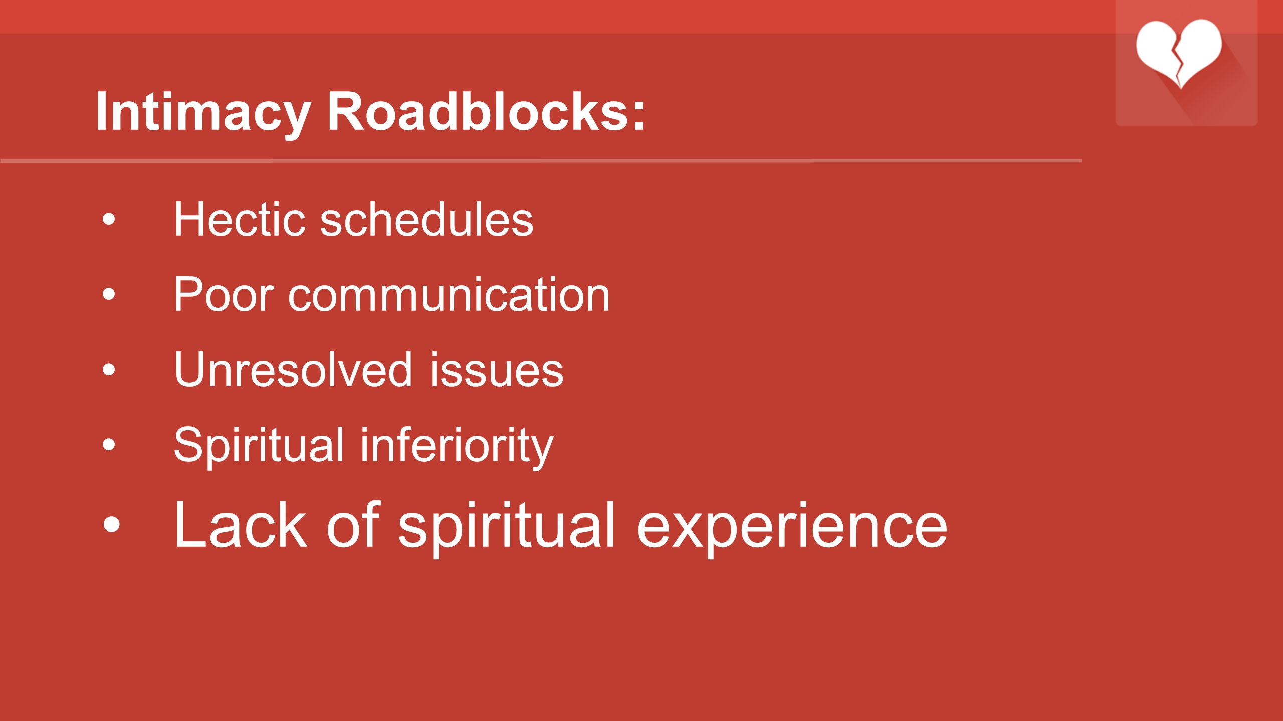 Lack of spiritual experience