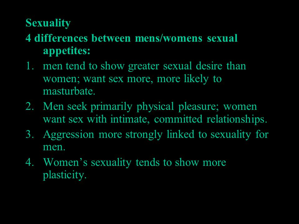 Sexuality 4 differences between mens/womens sexual appetites: