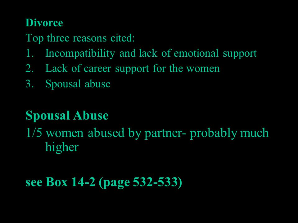 1/5 women abused by partner- probably much higher