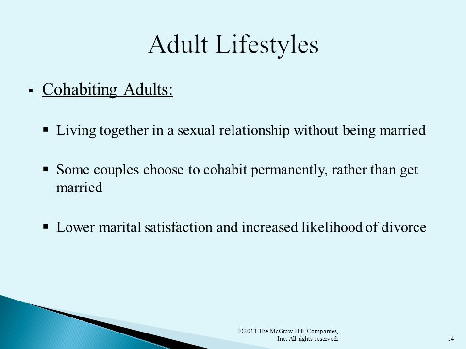 Adult Lifestyles Cohabiting Adults: