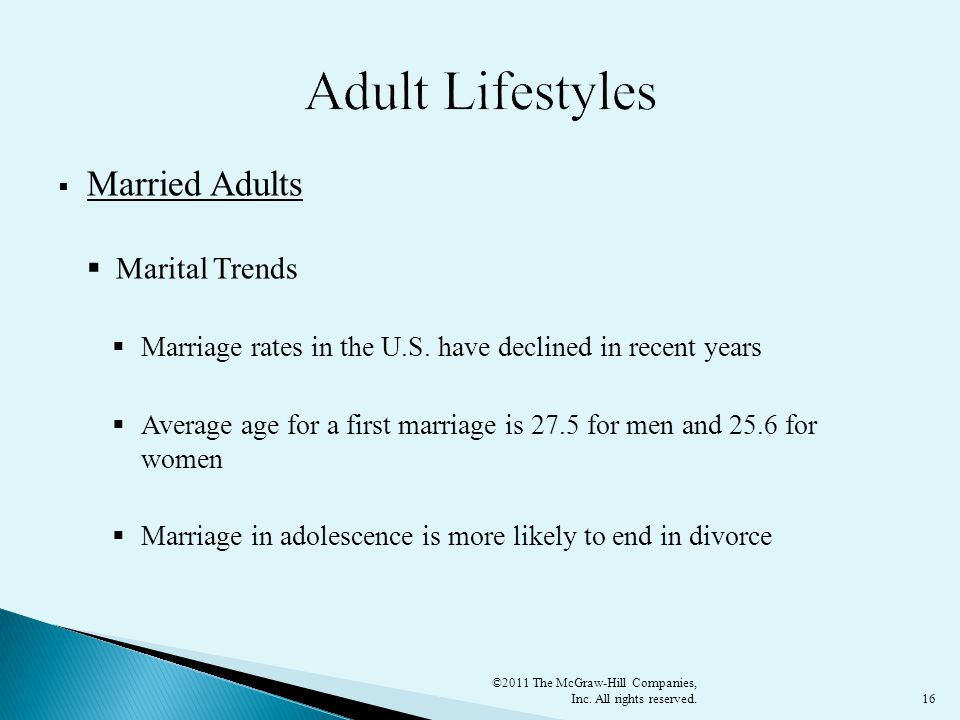 Adult Lifestyles Married Adults Marital Trends