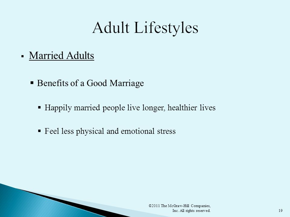 Adult Lifestyles Married Adults Benefits of a Good Marriage