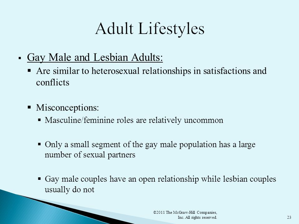 Adult Lifestyles Gay Male and Lesbian Adults: