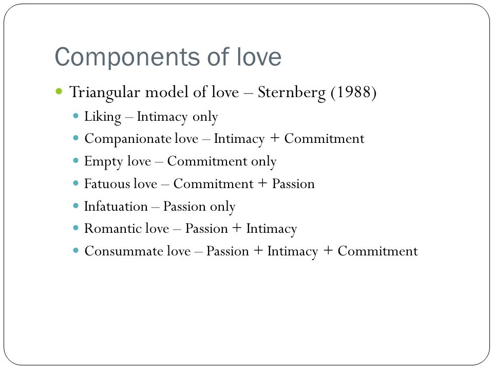 Components of love Triangular model of love – Sternberg (1988)