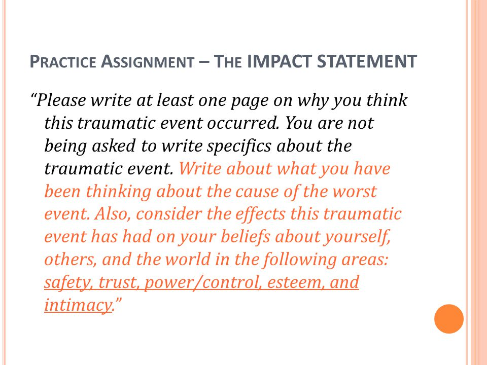 Practice Assignment – The IMPACT STATEMENT