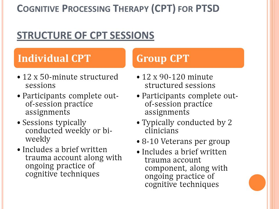 Cognitive Processing Therapy (CPT) for PTSD STRUCTURE OF CPT SESSIONS