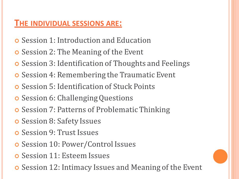The individual sessions are: