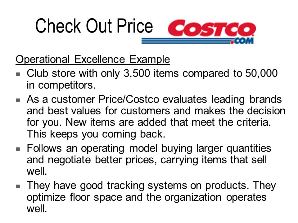 Check Out Price Operational Excellence Example