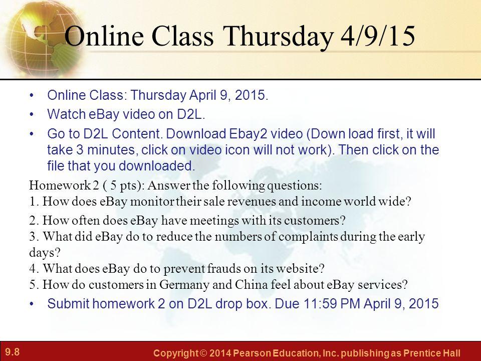 Online Class Thursday 4/9/15