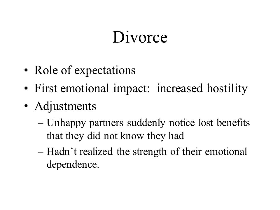Divorce Role of expectations
