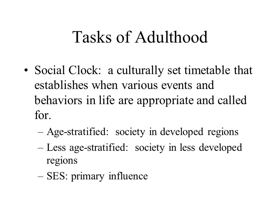 Tasks of Adulthood
