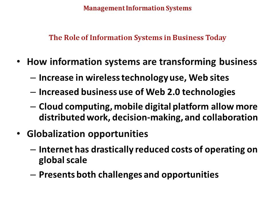 The Role of Information Systems in Business Today