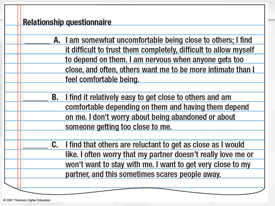 Figure 11.4 Three attachment styles, from one-item measure by Hazan and Shaver (1987)