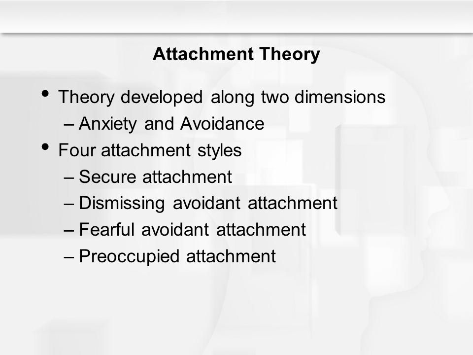Attachment Theory Theory developed along two dimensions. Anxiety and Avoidance. Four attachment styles.
