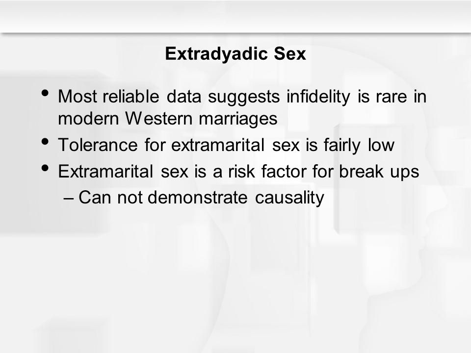 Tolerance for extramarital sex is fairly low