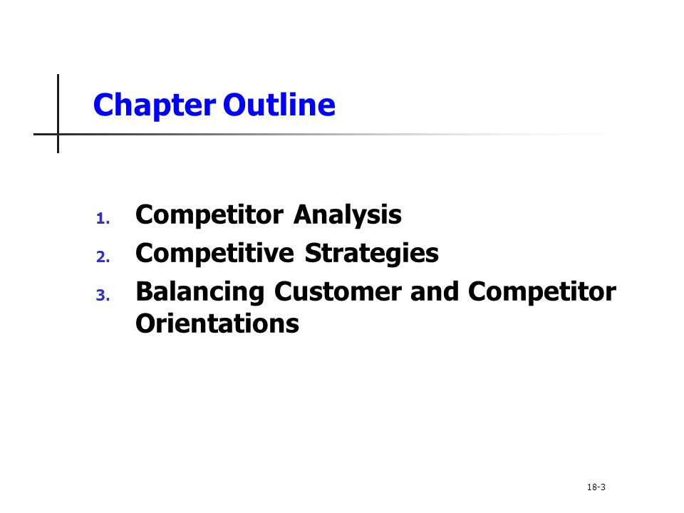 Chapter Outline Competitor Analysis Competitive Strategies