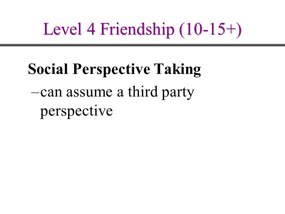 Level 4 Friendship (10-15+) Social Perspective Taking