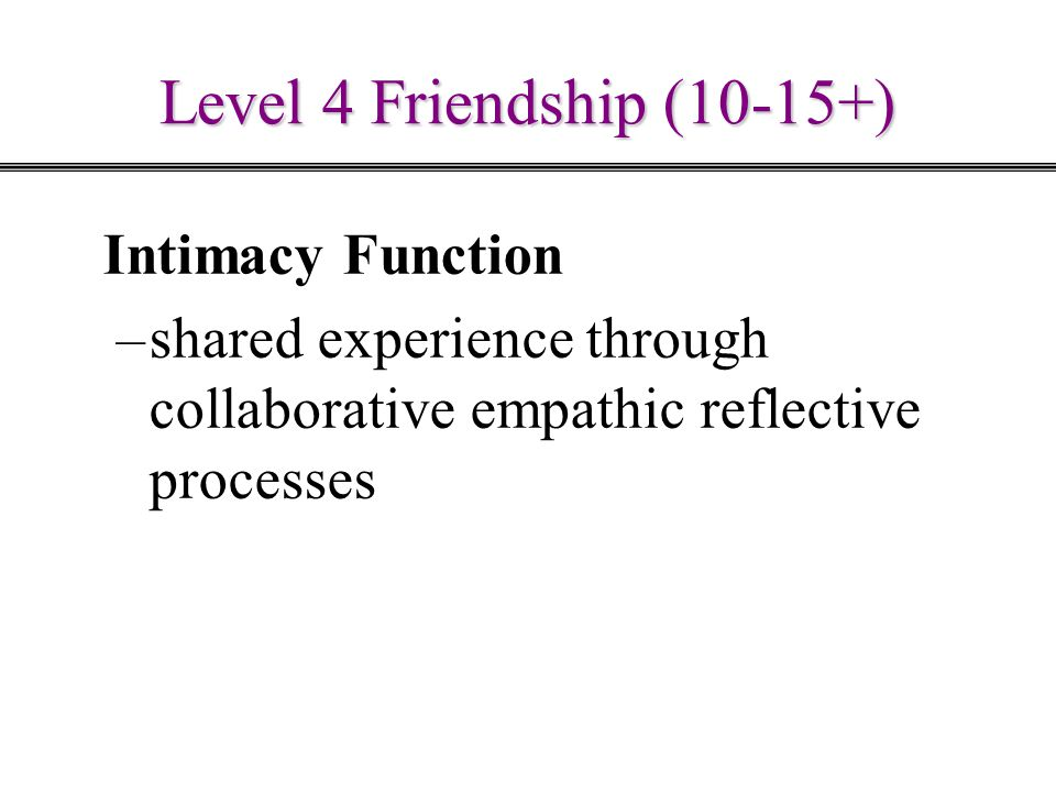Level 4 Friendship (10-15+) Intimacy Function