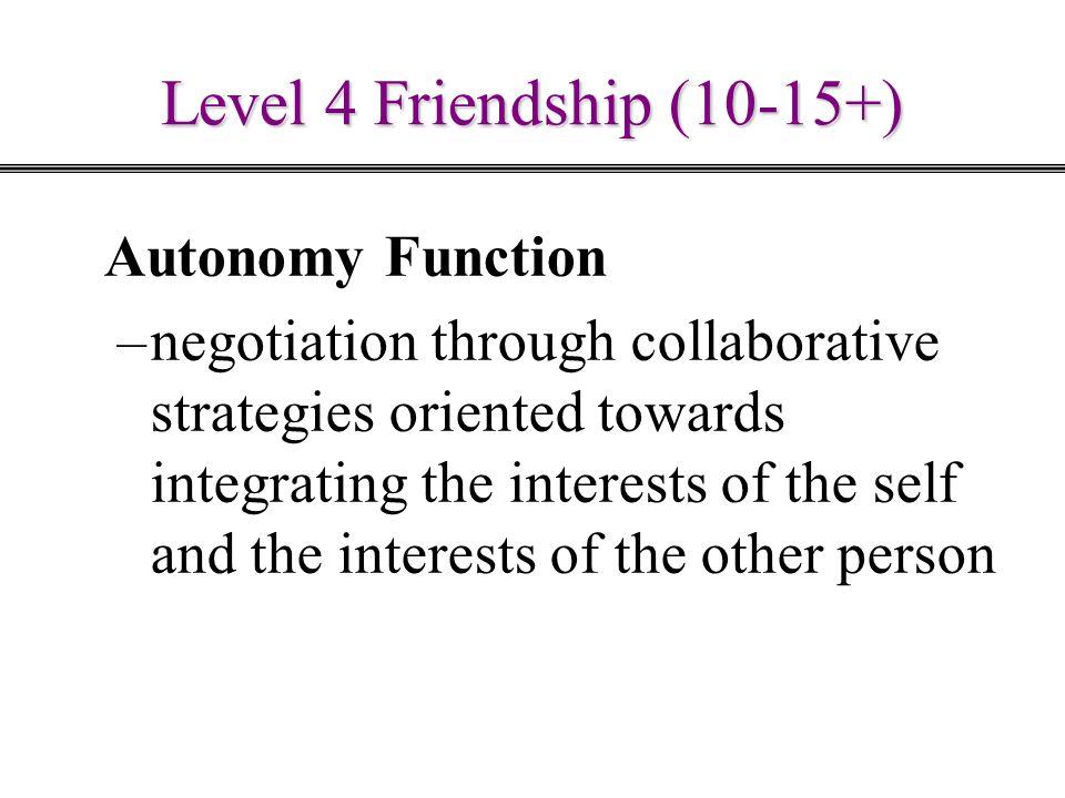 Level 4 Friendship (10-15+) Autonomy Function