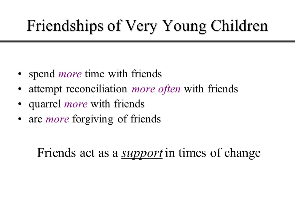 Friendships of Very Young Children