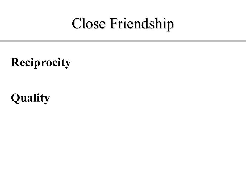 Close Friendship Reciprocity Quality