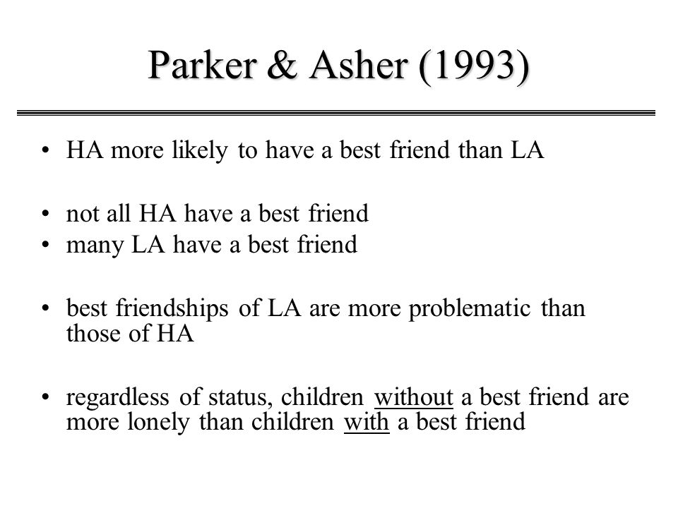 Parker & Asher (1993) HA more likely to have a best friend than LA