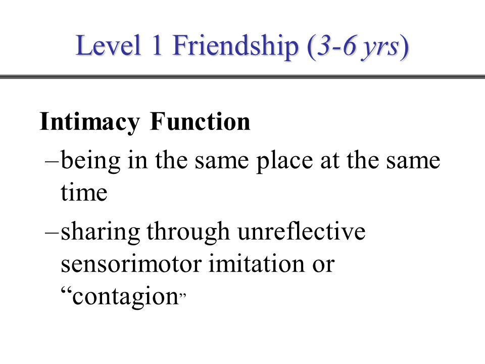 Level 1 Friendship (3-6 yrs)
