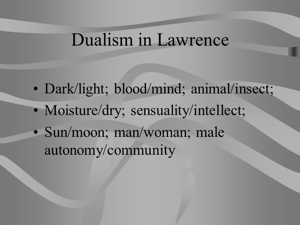 Dualism in Lawrence Dark/light; blood/mind; animal/insect;