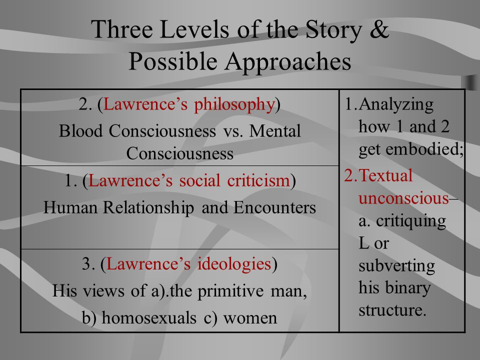 Three Levels of the Story & Possible Approaches