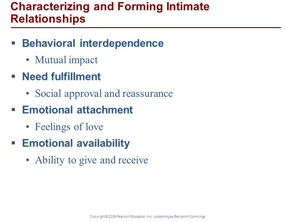 Characterizing and Forming Intimate Relationships