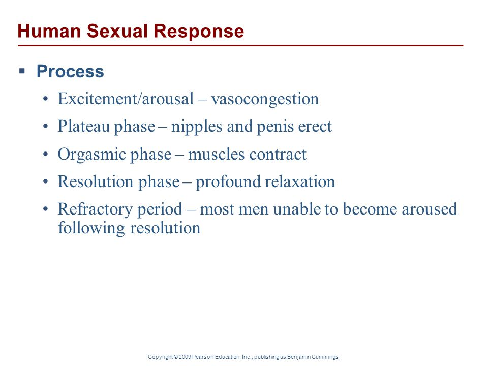 Human Sexual Response Process Excitement/arousal – vasocongestion