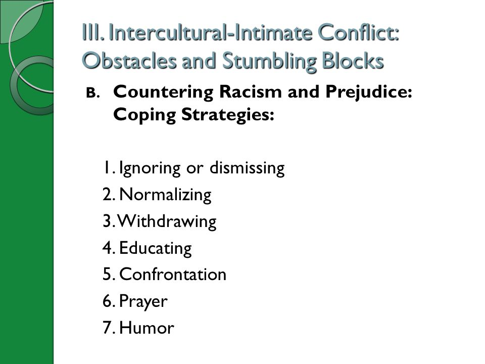 III. Intercultural-Intimate Conflict: Obstacles and Stumbling Blocks
