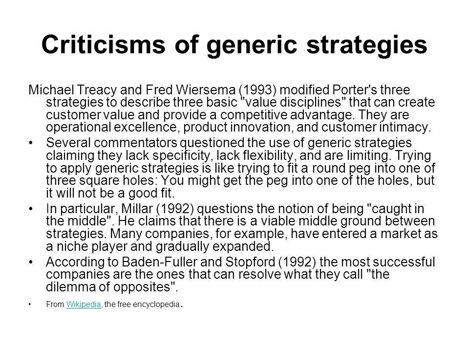 Criticisms of generic strategies
