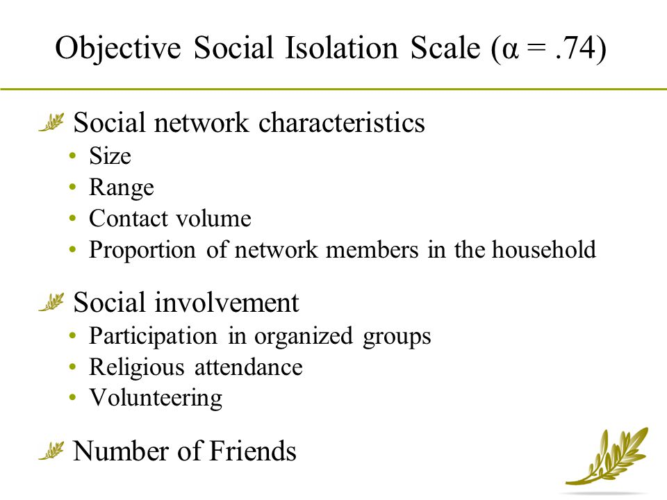 Objective Social Isolation Scale (α = .74)
