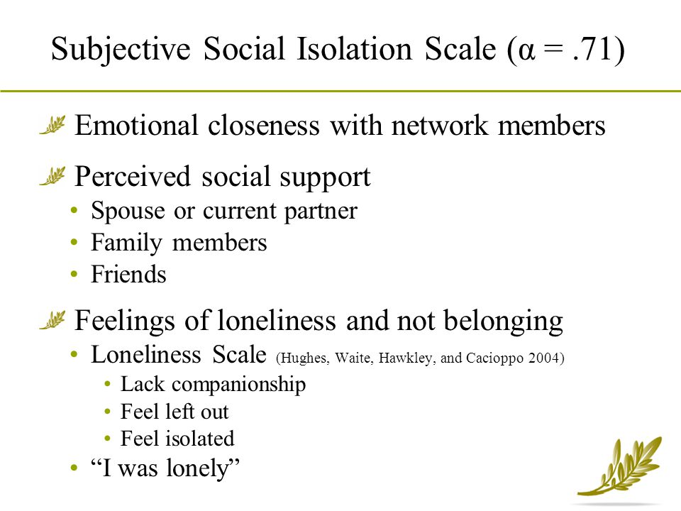 Subjective Social Isolation Scale (α = .71)