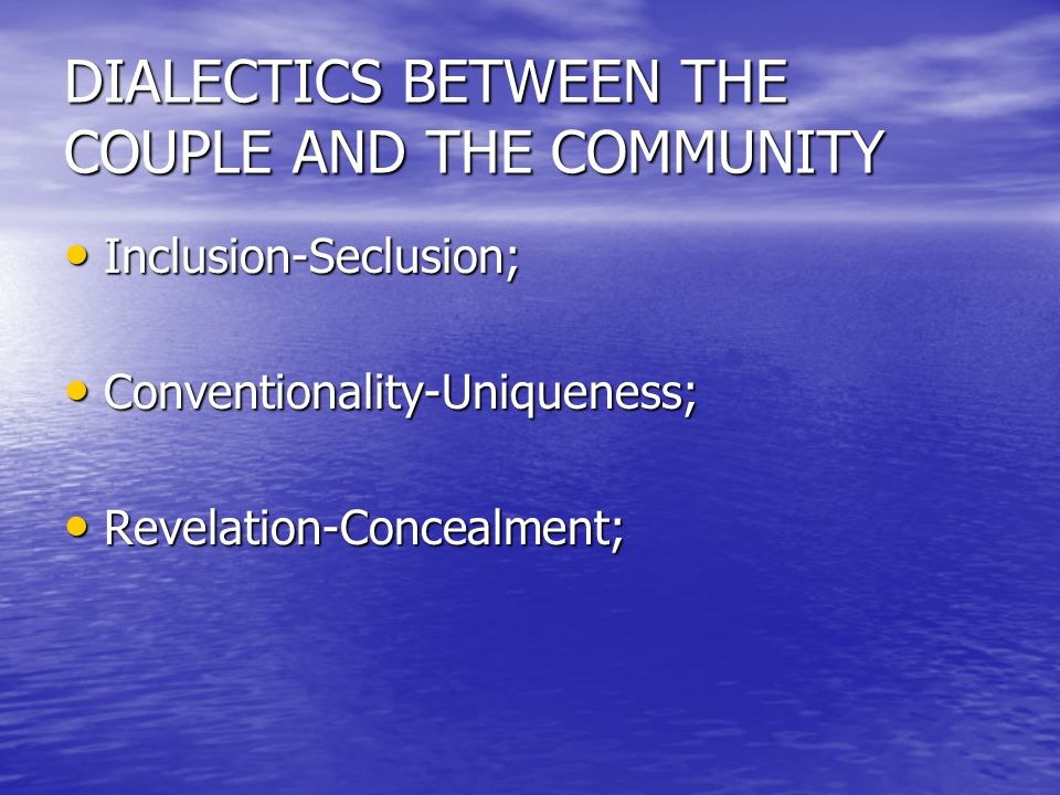 DIALECTICS BETWEEN THE COUPLE AND THE COMMUNITY