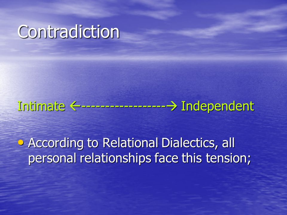 Contradiction Intimate ------------------ Independent