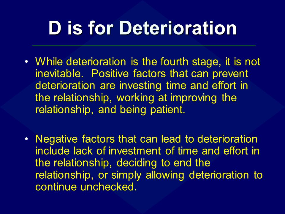 D is for Deterioration