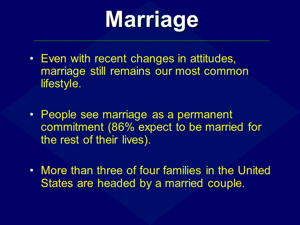 Marriage Even with recent changes in attitudes, marriage still remains our most common lifestyle.
