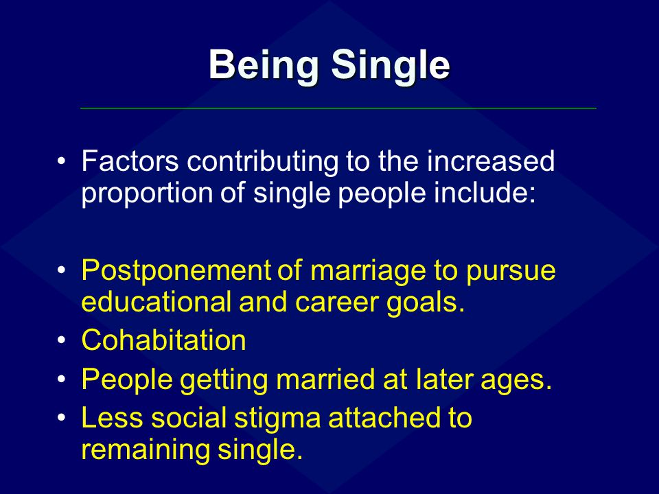 Being Single Factors contributing to the increased proportion of single people include: