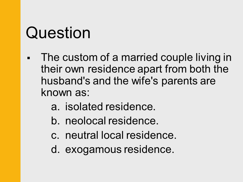 Question The custom of a married couple living in their own residence apart from both the husband s and the wife s parents are known as: