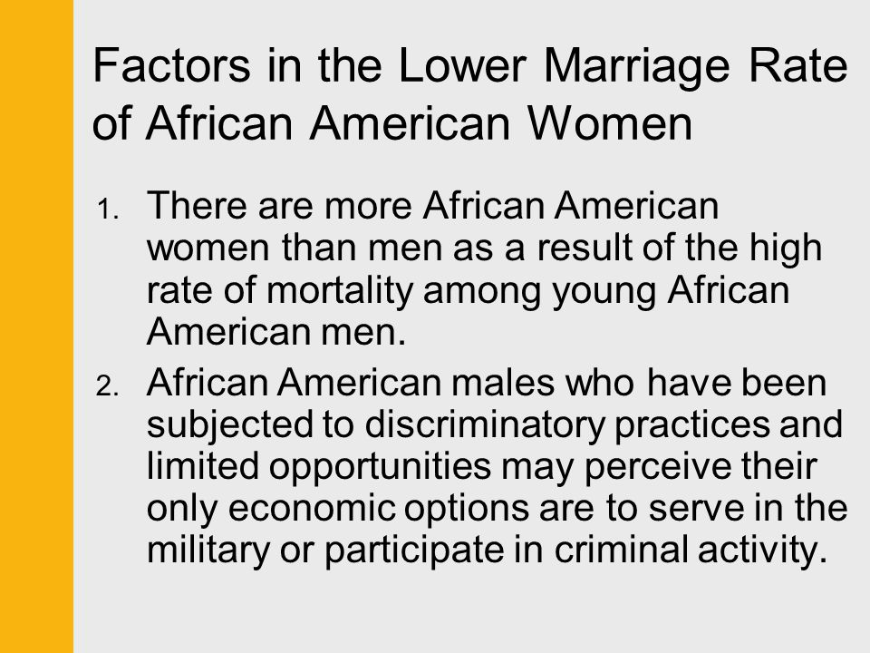 Factors in the Lower Marriage Rate of African American Women