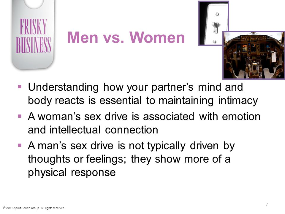 Men vs. Women Understanding how your partner's mind and body reacts is essential to maintaining intimacy.