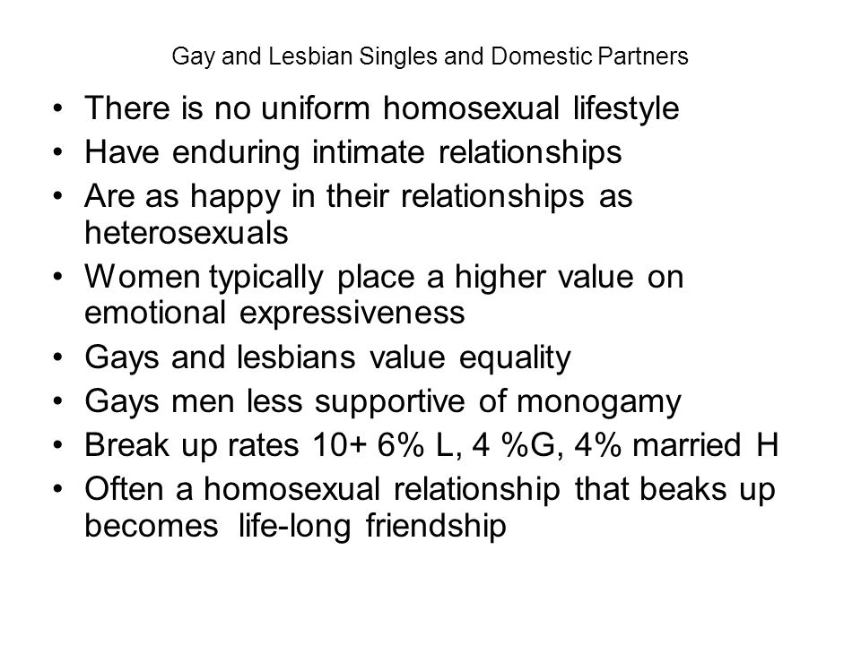 Gay and Lesbian Singles and Domestic Partners