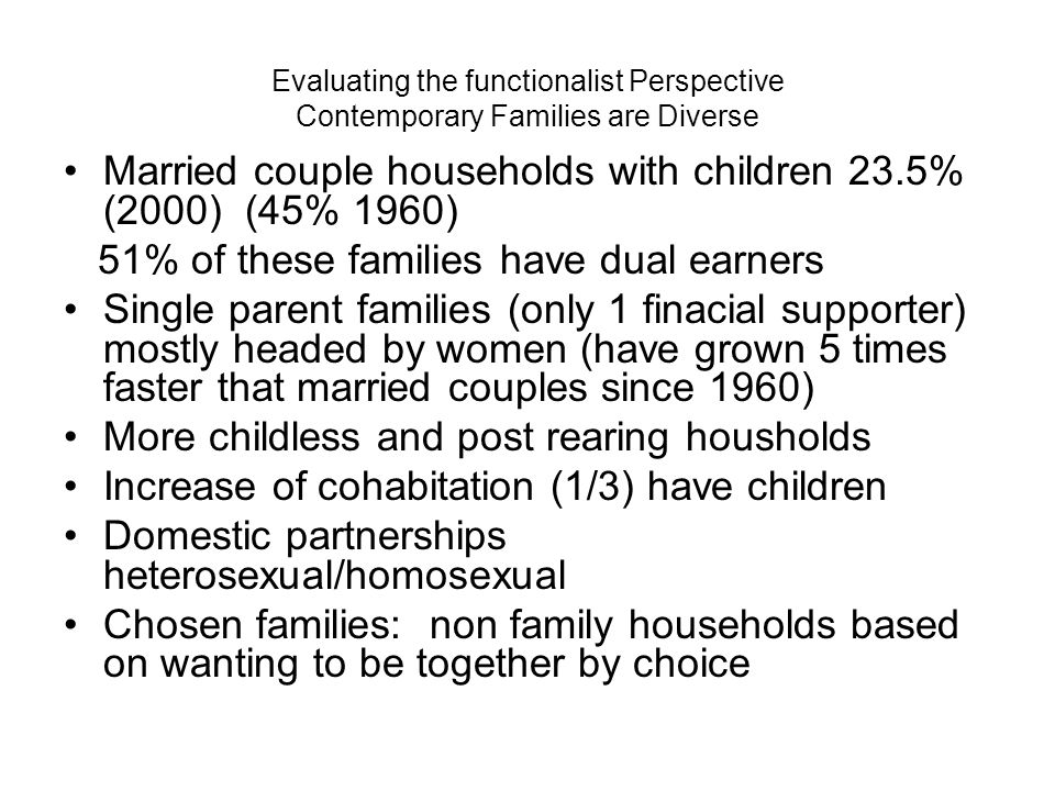 Married couple households with children 23.5% (2000) (45% 1960)