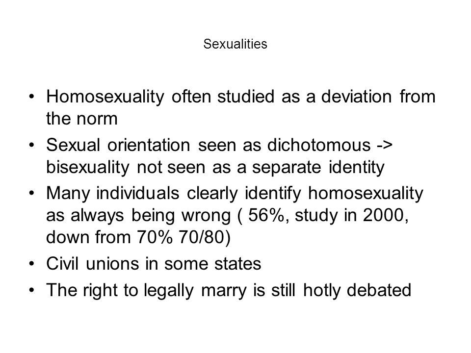 Homosexuality often studied as a deviation from the norm