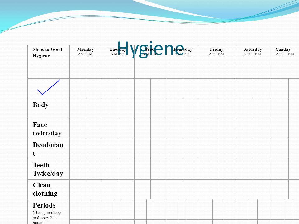 Hygiene Body Face twice/day Deodorant Teeth Twice/day Clean clothing