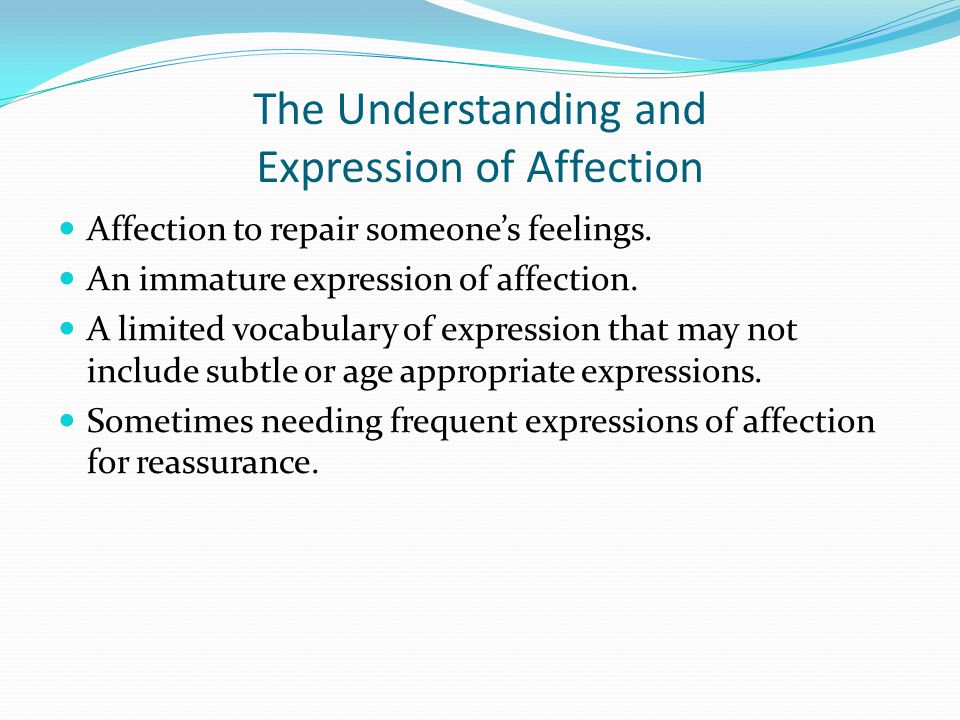 The Understanding and Expression of Affection