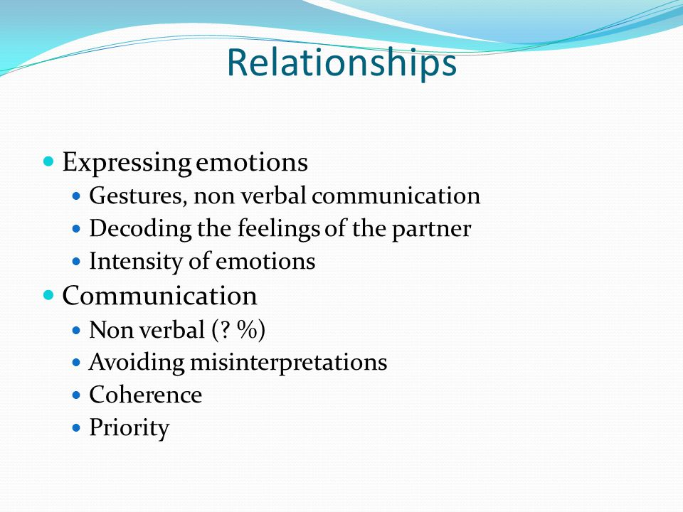 Relationships Expressing emotions Communication