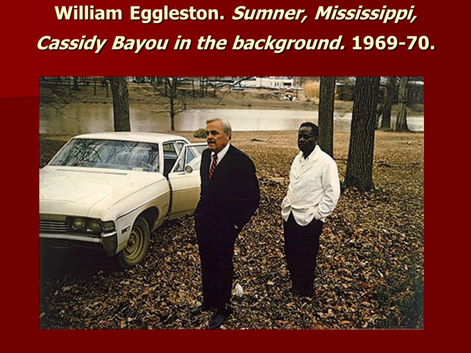 William Eggleston. Sumner, Mississippi, Cassidy Bayou in the background. 1969-70.